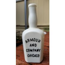 Excellent cond. Antique Milk Glass AMOUR AND COMPANY CHICAGO Chemical / Medicine