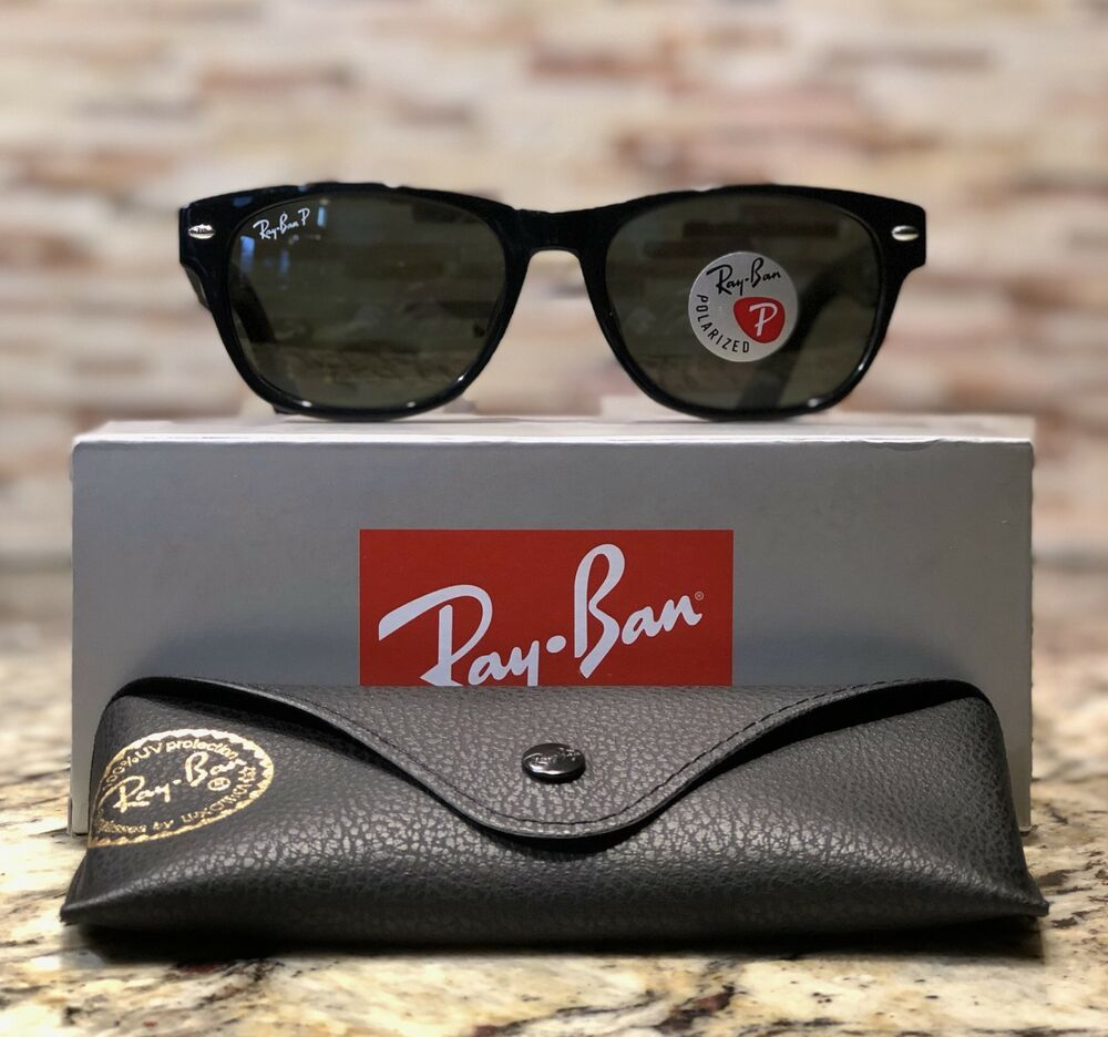 62c086348d Details about Ray Ban New Wayfarer Polarized Sunglasses RB2132 901 58 52mm  Black Green Lens!!