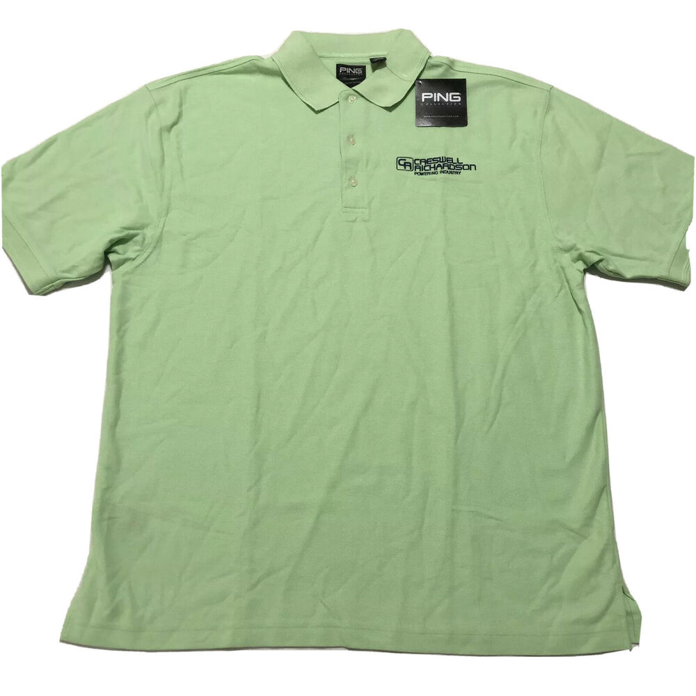 Ping Polo Golf Shirt Xl Green With Embroidered Company Logo 100