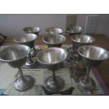 ANTIQUE SILVER REINFORCED WITH CEMENT Lot Set 9 sherbet dessert cups wine glass