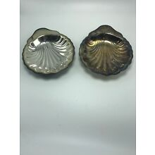 "Oneida Silversmiths Set of 2 Shell Candy Dishes Trays Vintage 7 1/2"" Preowned"