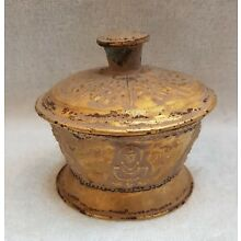 Very Rare And Unique Old Antique Roman Gold On Silver Ancient Box  # T78