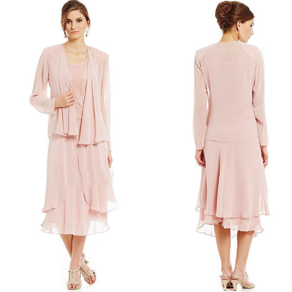 Chiffon Mother Of The Bride Groom Dresses With Long Sleeve