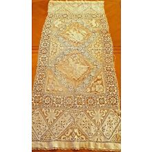 Antique Lace Runner Handmade French Figural Filet Panel Needlelace Reticella