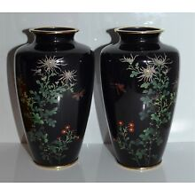 Pair Fine Old or Antique Japanese Cloisonne Vases, 1 As Is