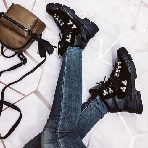 626b7737a590 Details about Cape Robbin COUNTRY SIDE Black Lace Up Chunky Sole Utility  Sneaker Boot