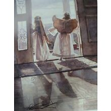Steve Hanks Angels Out the Door  Print Signed image 8 x 10 1/2 Open Ed.