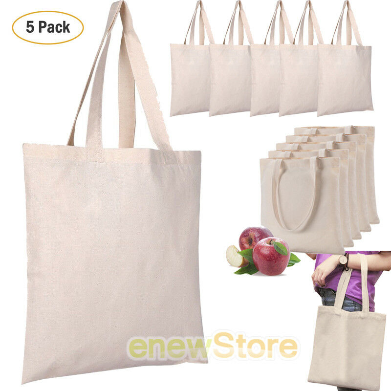 5 Pack Bulk Cotton Canvas Tote Bags Reusable Grocery Shopping Blank