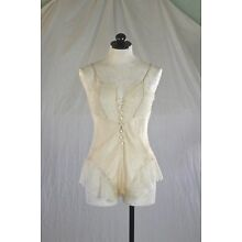 SABETH-ROW vintage 70s ivory SILK TEDDY exquisite lace rare collectible XS