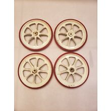 4 Vintage Baby Buggy Wagon Doll Stroller Carriage Wheels Tires Rubber Metal 5