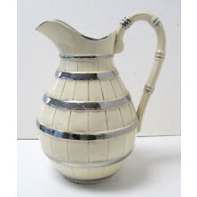 Large Cream Colored Jug with Painted Silver Details