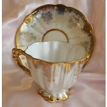 Vintage AACO Tea Cup & Saucer Hand Painted Set with gold Victorian Designs
