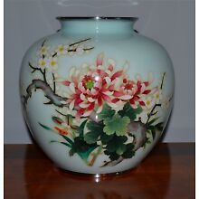 Antique Japanese Cloisonne Vase Floral Design Light Blue Background Ando