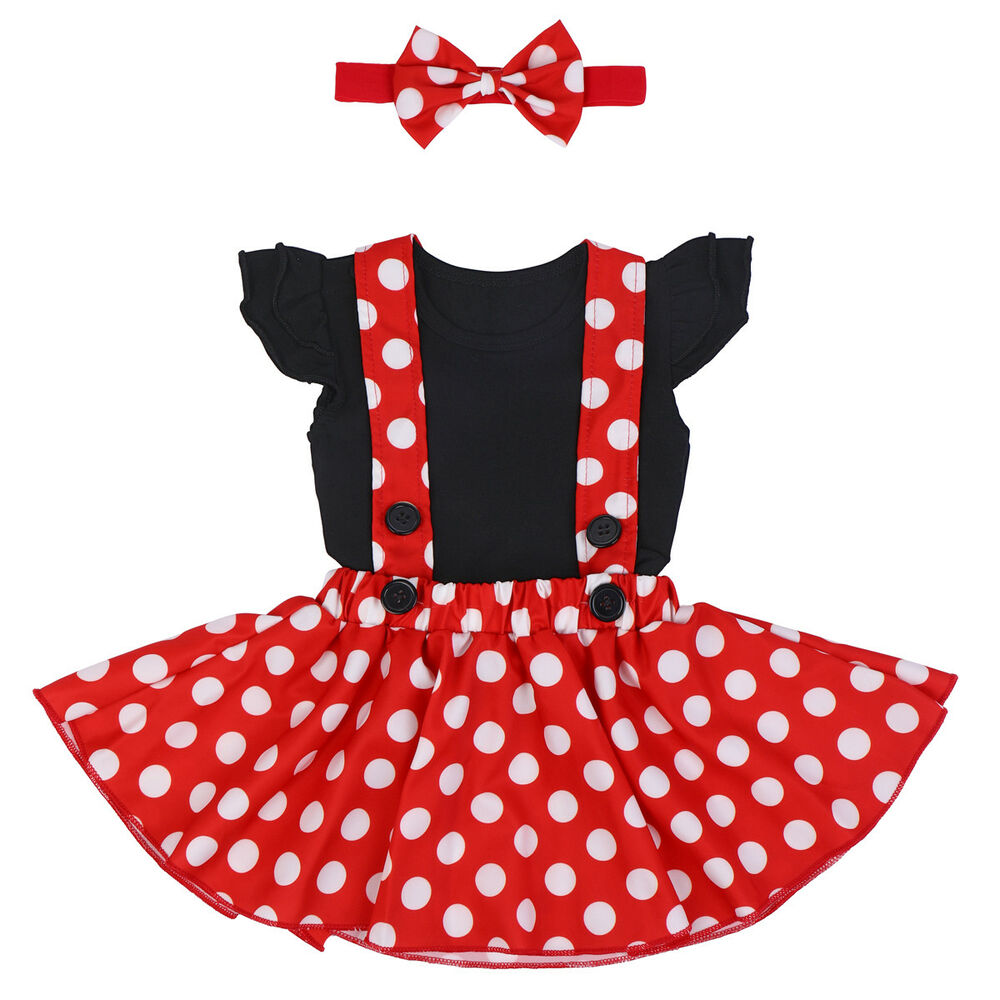 92fe42a8a87 Details about Mickey Minnie Mouse Cartoon Dress Suspender Romper Headband  Outfit for Baby Girl