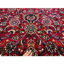 10x13 RED PERSIAN RUG HAND KNOTTED RUGS WOOL ORIENTAL BLUE GREEN ANTIQUE 9x12