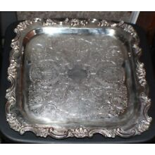 VINTAGE SHEFFIELD REPRODUCTION SILVER COMPANY SILVERPLATED SERVING TRAY 13 1/3