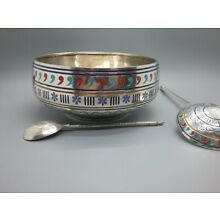 Beautiful Antique Russian 84 Silver Big Champlevé Enamel Bowl and Spoon 1887