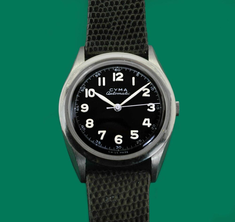 1fc74610b5aa Vintage 1940 s Cyma Tavannes Military Type Bumper Automatic All Stainless  Watch   eBay