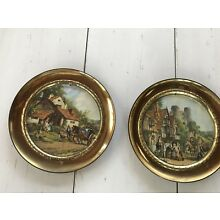 Vintage Pair Of Round Brass Pictures Frames  Foil Front With English Scenes