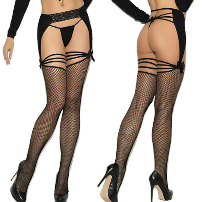 8dfdebb81 Details about Elegant Moments Black Fishnet Thigh High Stockings With Lace    Opaque Garterbelt