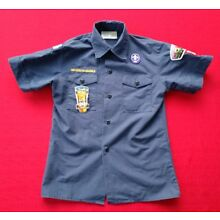 Official BSA Boy Scouts of America 83 Shirt Youth Medium Many Patches Navy Blue