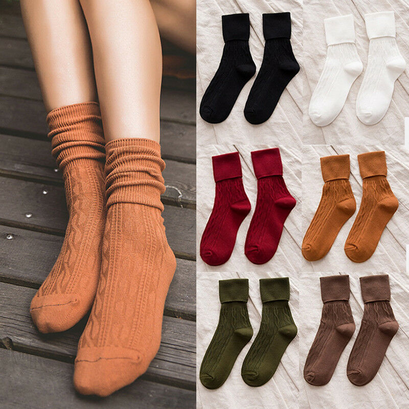 de0ae1e784be Details about Women Warm Thick Cotton Breathable Ankle-High Sports Socks  Fashion Dress Socks
