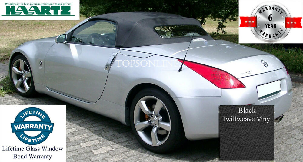 Details About Nissan 350z Convertible Soft Top Heated Gl Window Black Twill Fits 350 Z