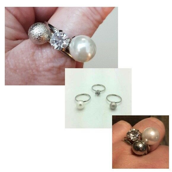 Avon Lovely Stackable Ring set ~ Trio of adjustable rings Pearl,silver,crystal