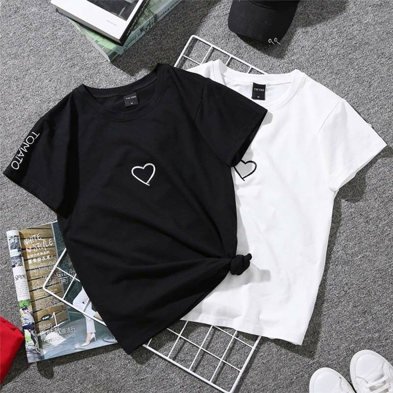 b0ef7082674 Details about Short Sleeve Couple TShirt Simple Design Heart Printed Tees  Summer Tops BlouseEP