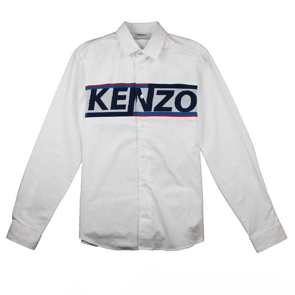 1ca81ff07473 Details about Kenzo Signature Mens Long Sleeve Shirt White