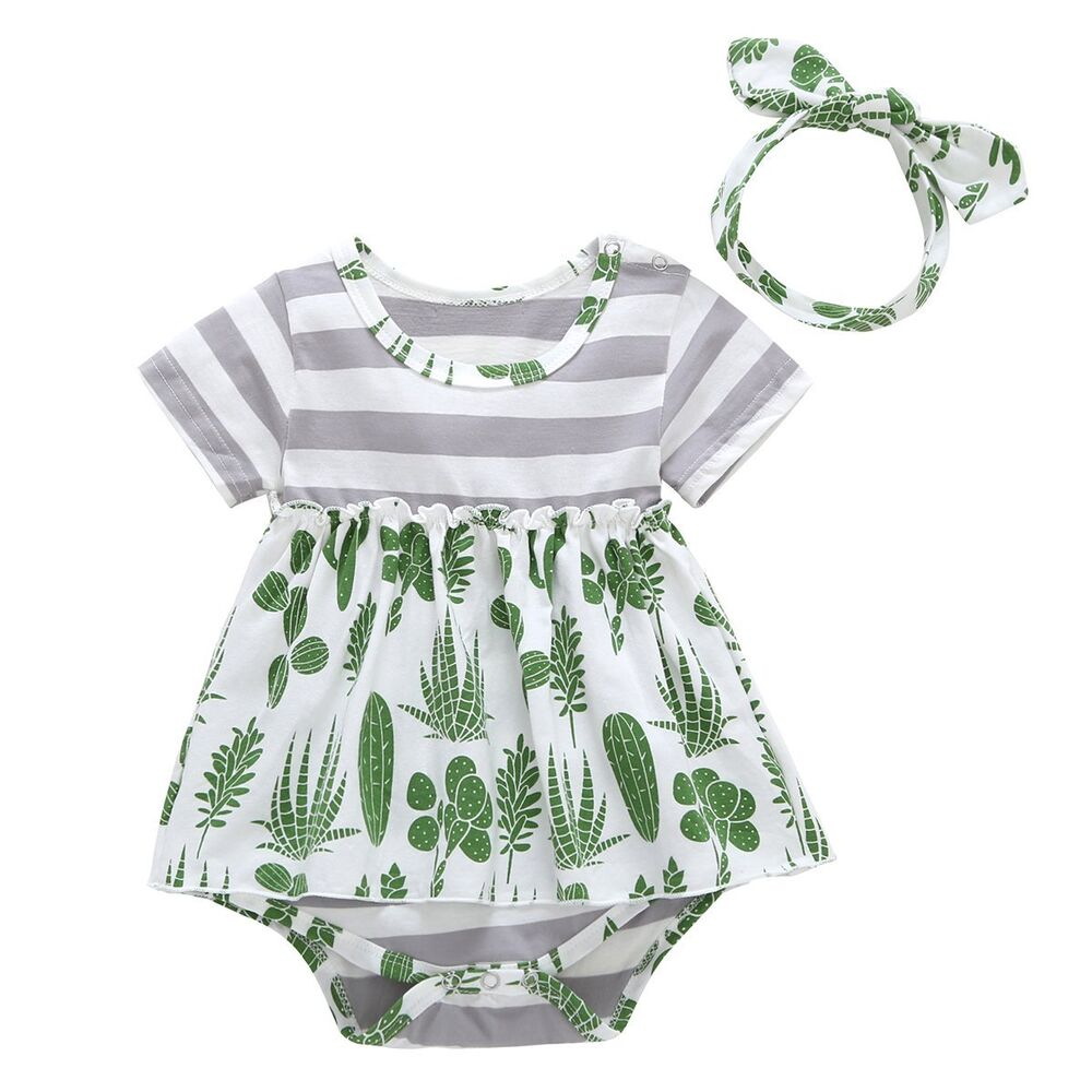 a01adcac5 Details about Newborn Infant Baby Girl Cactus Romper Jumpsuit Bodysuit  Headband Outfit Clothes