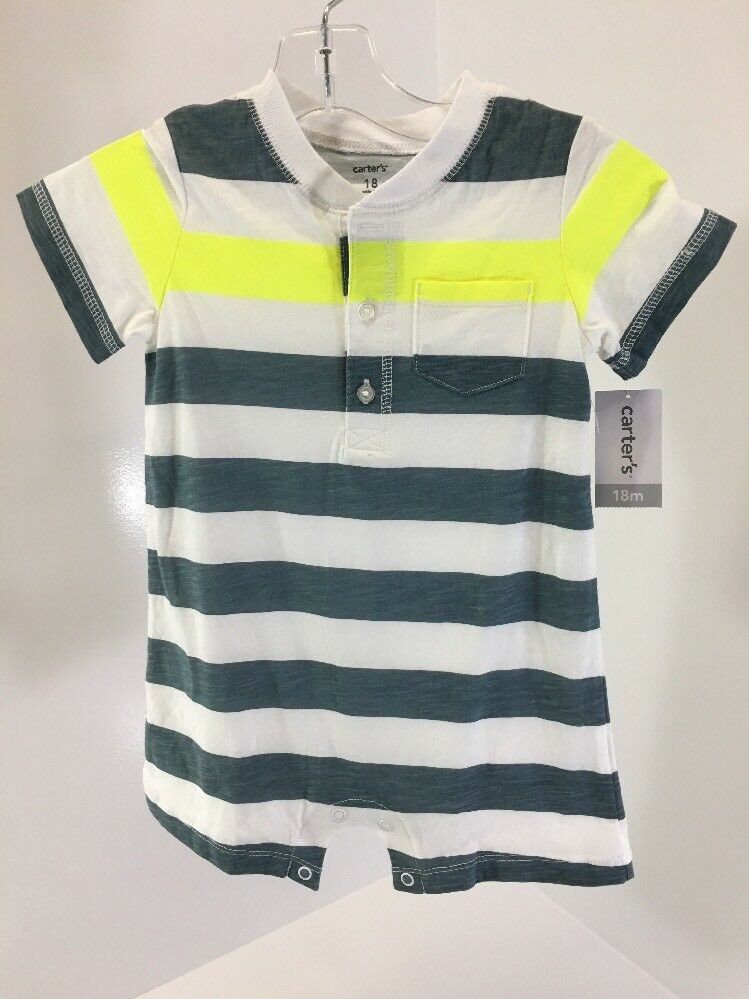 2b19bfb88444 Details about CARTER S BABY BOY STRIPED JERSEY ROMPER WHITE NEON  YELLOW BLUE SPRUCE 18M NWD