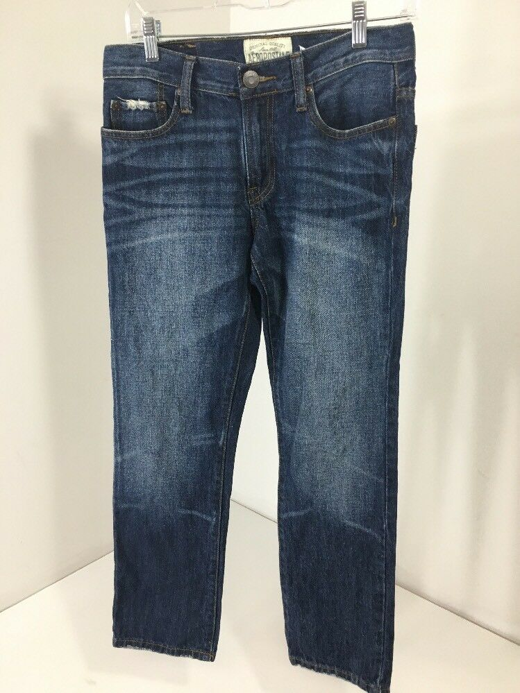 d6e5cdcd979 Details about AEROPOSTALE TEEN BOY ESSEX STRAIGHT DISTRESSED JEANS DARK W/ FADE 27X28 PRE-OWNED