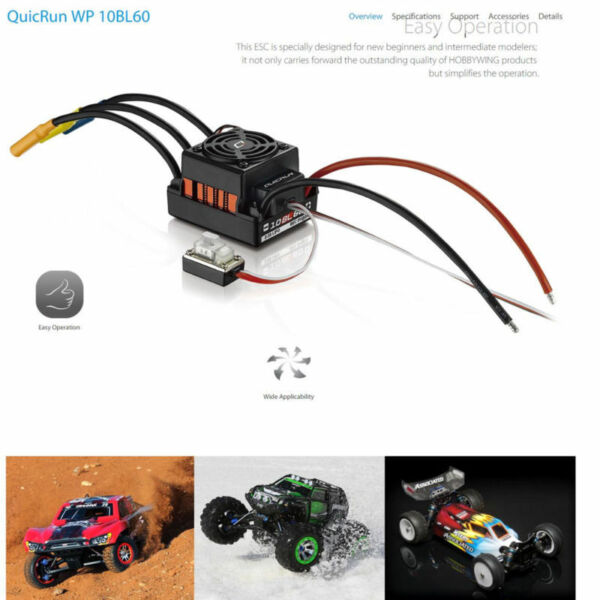 Hobbywing QUICRUN-WP-10BL60 60A WP Brushless ESC Waterproof For 1:10 RC Car