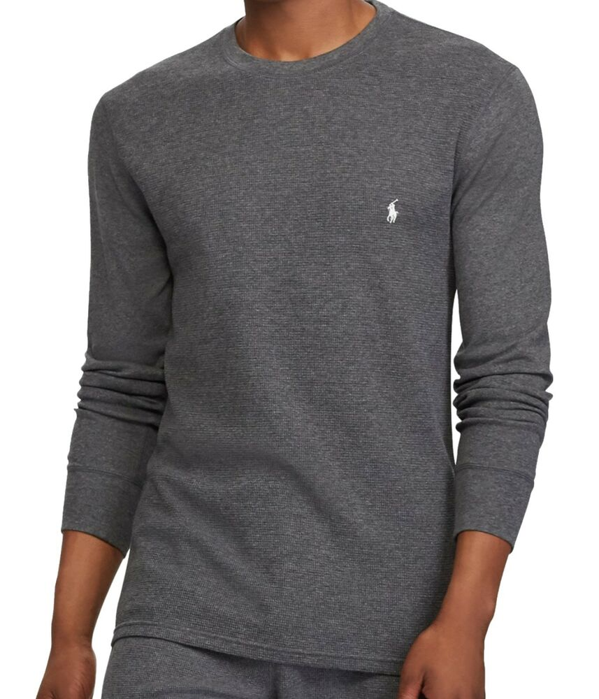 d40a0156 Details about New : Polo Ralph Lauren Mens Waffle Knit Thermal L/S shirt :  DARK GRAY : S - XL