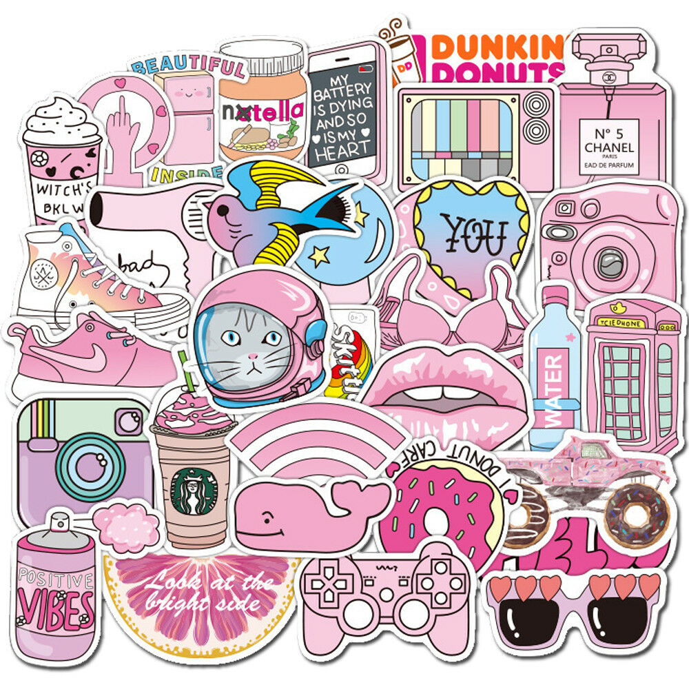 Details about 50pcs cute cartoon decorative stickers for laptop motorcycle skateboard decal