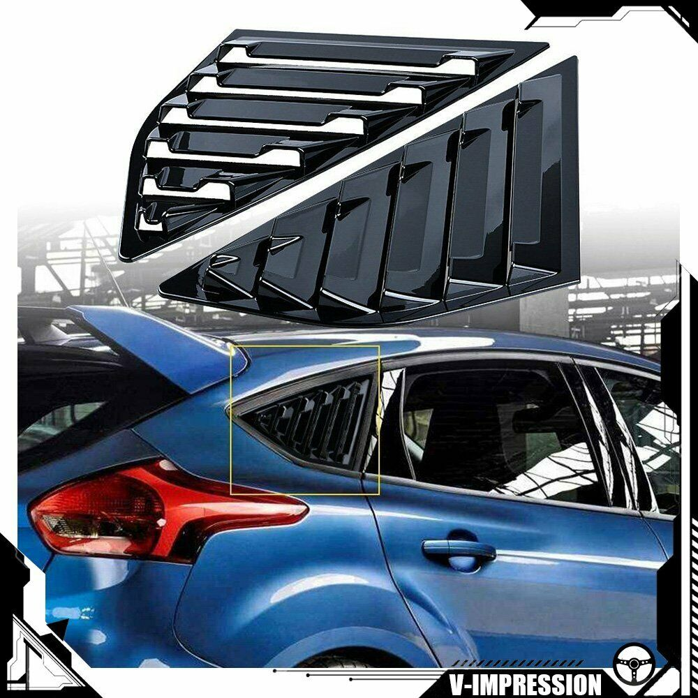 New Ford Focus St Line X Interior: 2x Glossy Black Quarter Window Louvers Scoop For Ford