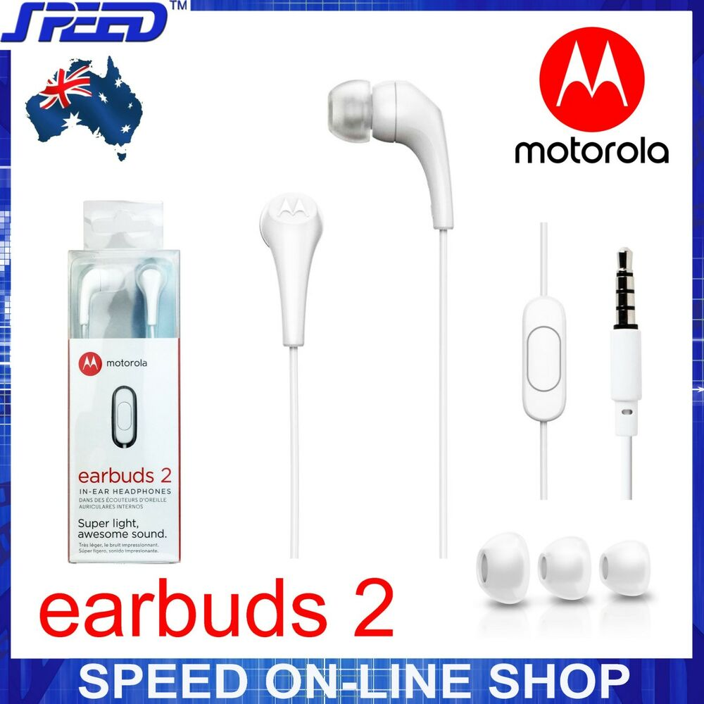 06c49e5fa4f Details about Motorola Earbuds 2 Headphones Earphones with Mic - SH006WH  White - GENUINE