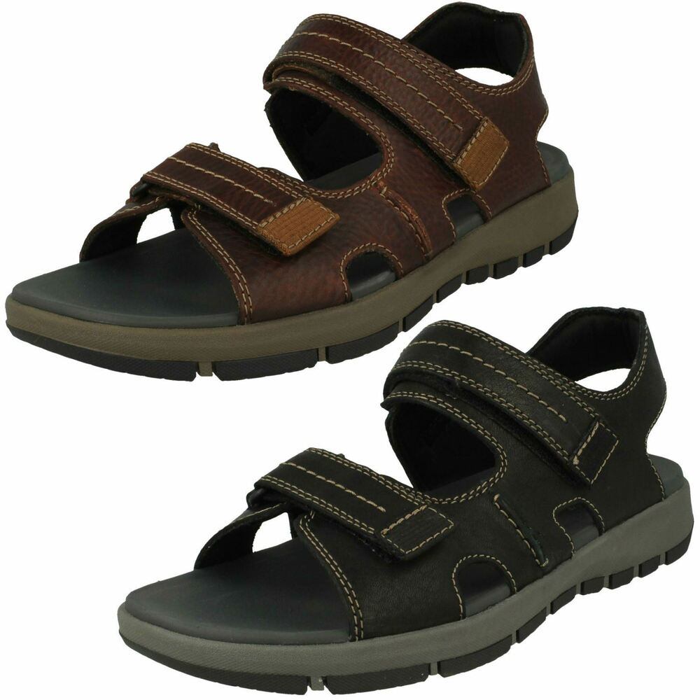 5586e1ea9efa Details about Mens Clarks Brixby Shore Black Or Dark Brown Leather Casual  Strapped Sandals