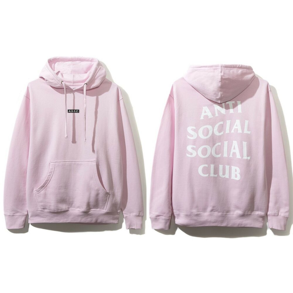 7d83369daaed Details about Anti Social Social Club ASSC Logo What Sup Pink Hoodie Sz S M  L XL 2XL