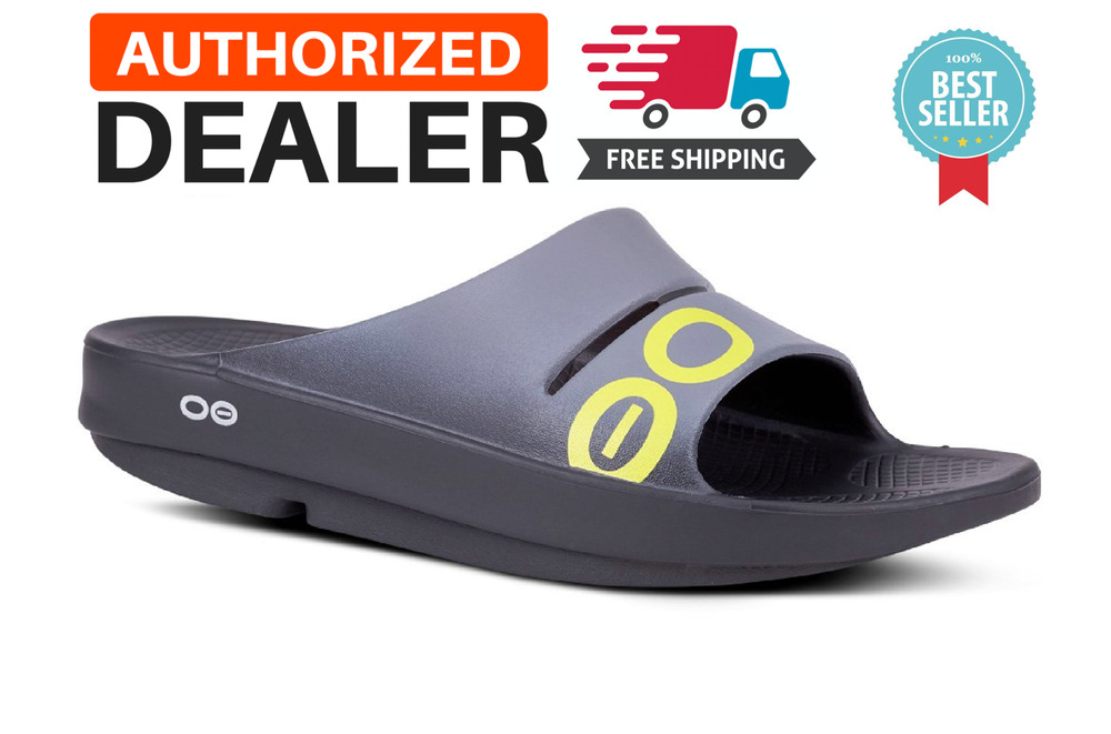 2b011495b528b2 Details about 🔥OOFOS OOAHH SPORT Slide Sandals Recovery Thong Footwear  BLACK GRAY - NEW!!