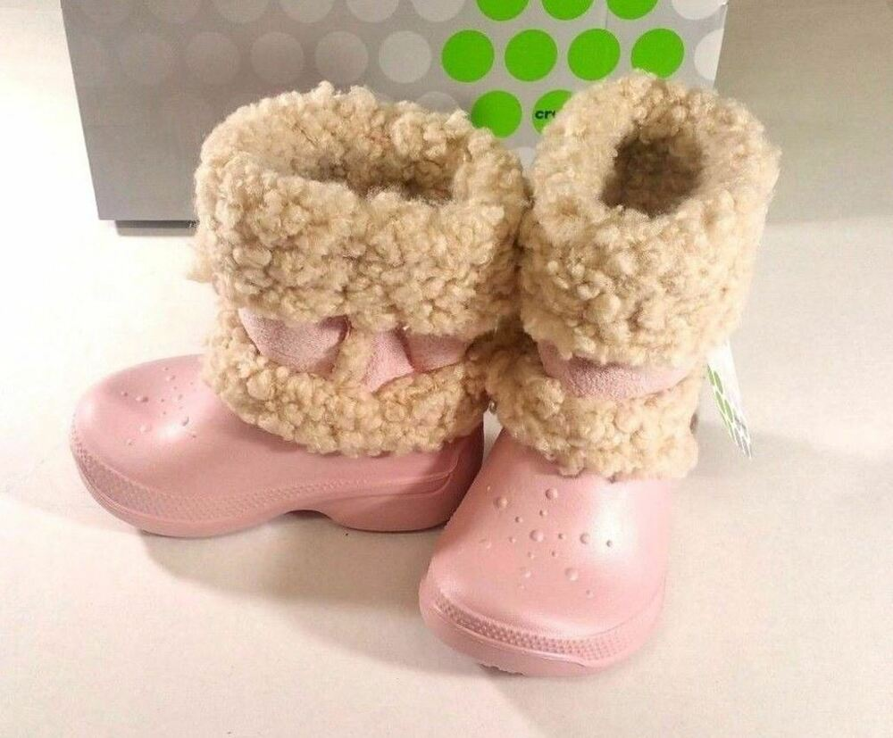 8f724fe9e28bc Details about NIB CROCS Girl s Nadia Slip On Fur Lined Boots Cotton Candy  C6 7 or J2 4 or J3 5