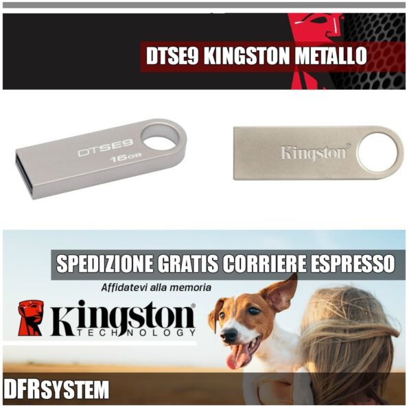 PENDRIVE USB METALLO KINGSTON DTSE9H SE9 SCEGLI TRA 8 16 32 GB 8GB 16GB 32GB NEW