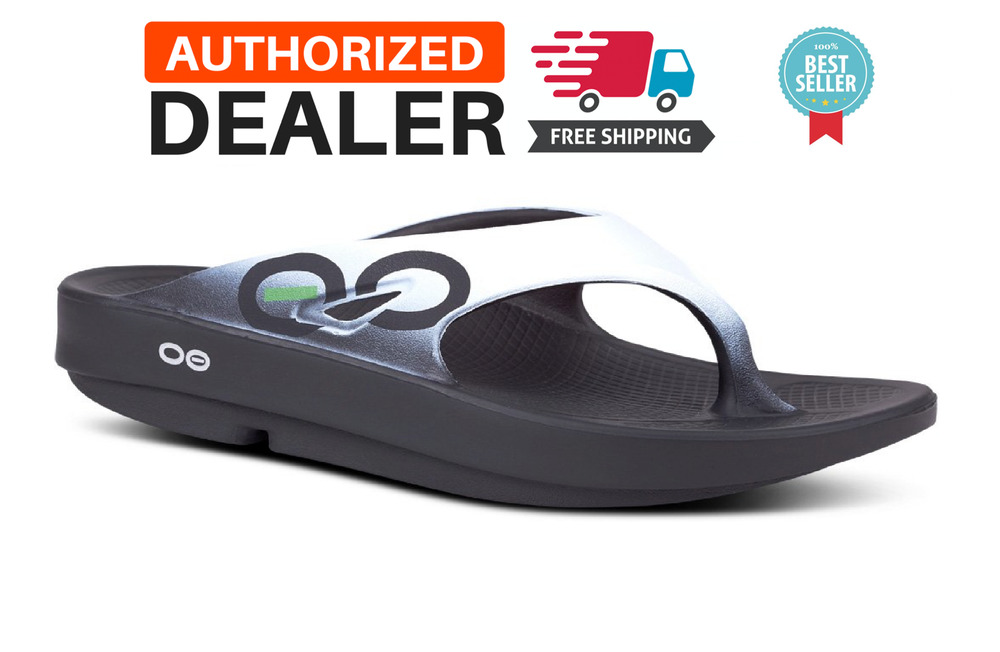 5ec75dafe8a Details about 🔥OOFOS OORIGINAL SPORT Sandals Flip Flop Recovery Thong  Black Cloud White NEW!