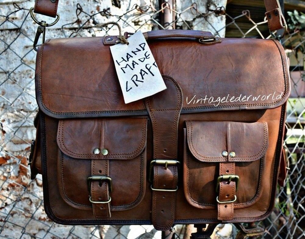 Men/'s Retro Genuine Leather Messenger Shoulder Laptop Case Briefcase Attache Bag