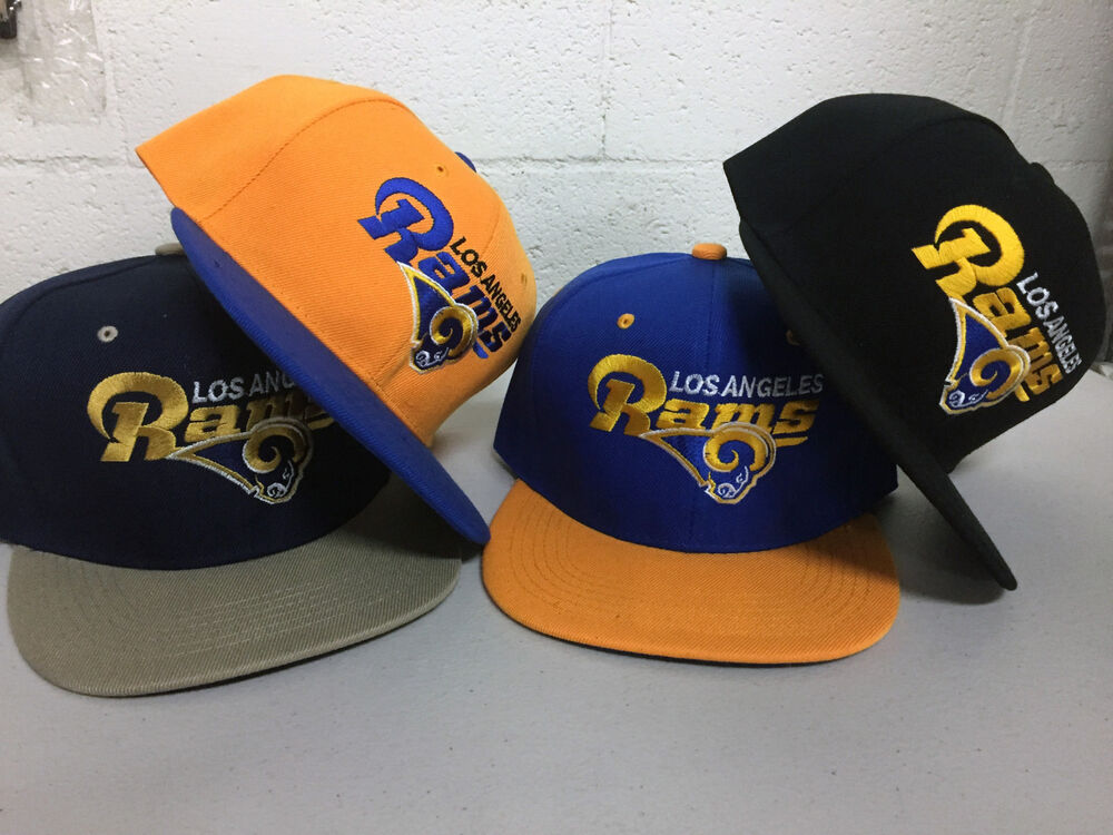 a4711a87 Details about Los Angeles Rams Snap Back Cap Writing Hat Embroidered  Adjustable Flat Bill LA
