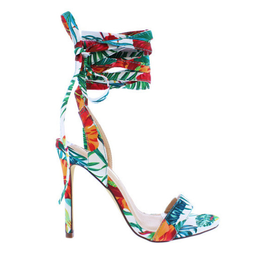 6292325792e6 Details about Liliana NERVADA-7 Green Tropical Print Strappy Wrap-Around  Tie-Up Stiletto Heel