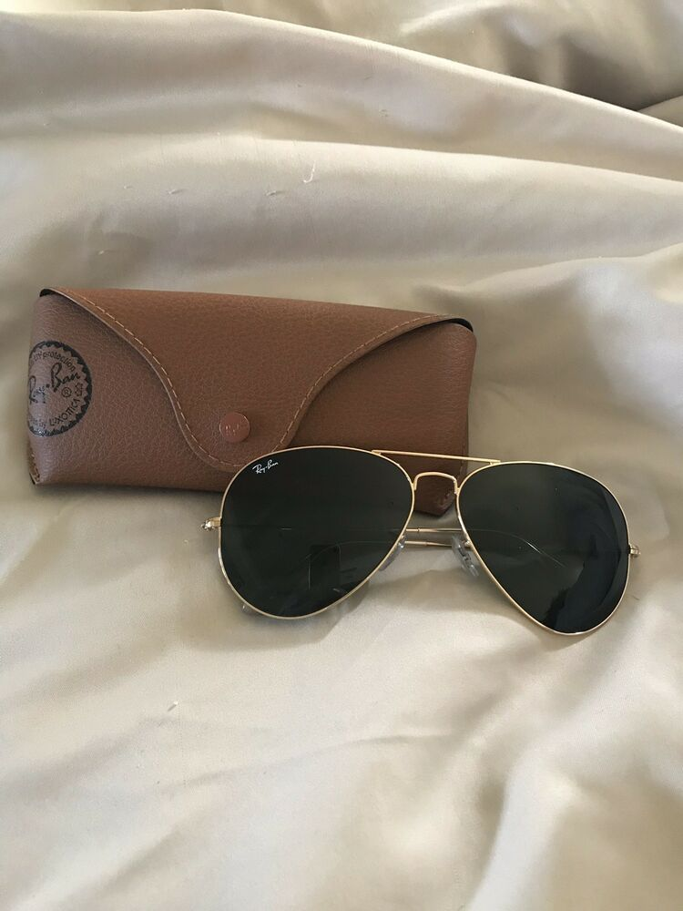 b522bce9dce Details about Ray Ban Aviator Classic Gold Rim Green Lens 100% UV  Protection Sunglasses   Case