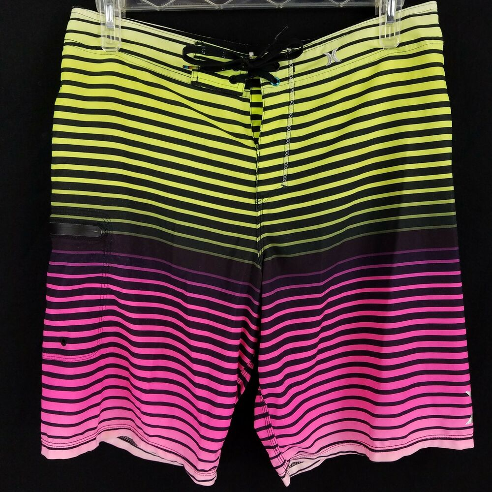 aa7ec71a95 Details about Hurley Phantom Pink Yellow Black Striped Board Shorts Swim  Trunks Mens Size 34