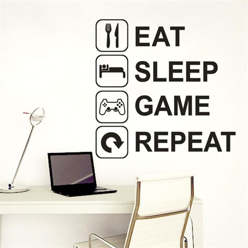 eat sleep game repeat wall stickers room home play game door sticker